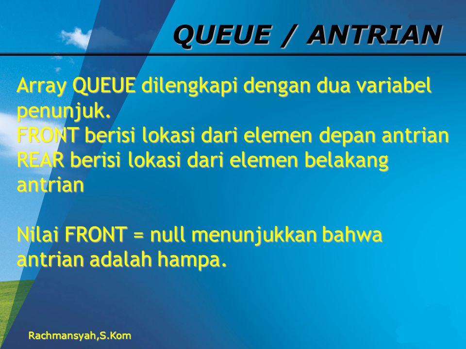 QUEUE / ANTRIAN Array QUEUE dilengkapi dengan dua variabel penunjuk.