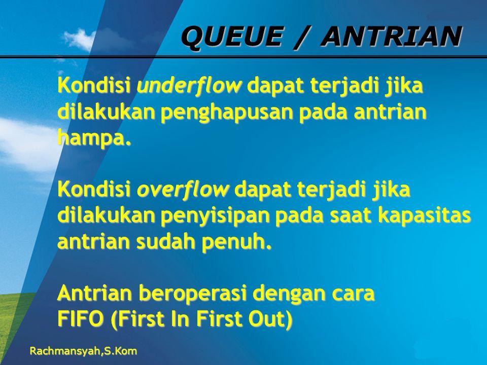 QUEUE / ANTRIAN Kondisi underflow dapat terjadi jika dilakukan penghapusan pada antrian hampa.