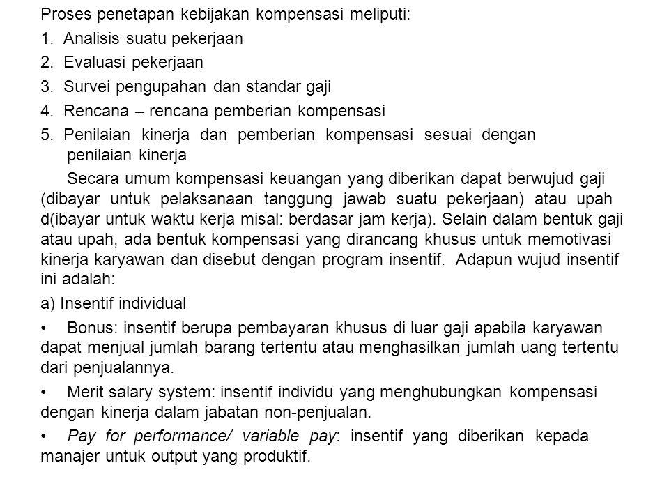 Proses penetapan kebijakan kompensasi meliputi: