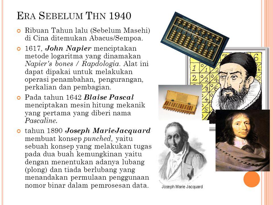 Era Sebelum Thn 1940 Ribuan Tahun lalu (Sebelum Masehi) di Cina ditemukan Abacus/Sempoa.