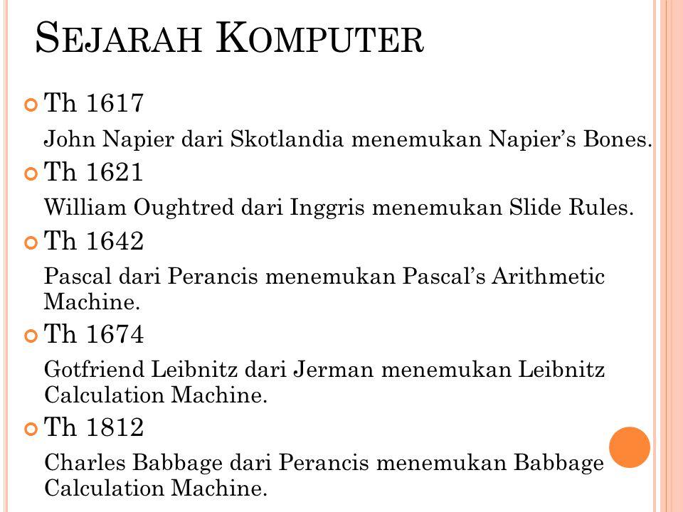 Sejarah Komputer Th 1617. John Napier dari Skotlandia menemukan Napier's Bones. Th 1621. William Oughtred dari Inggris menemukan Slide Rules.
