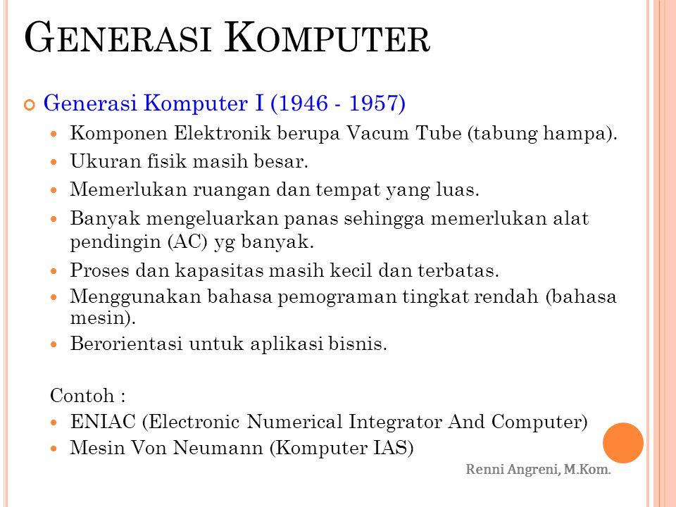 Generasi Komputer Generasi Komputer I (1946 - 1957)