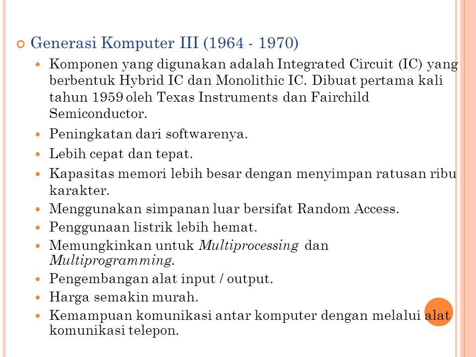 Generasi Komputer III (1964 - 1970)