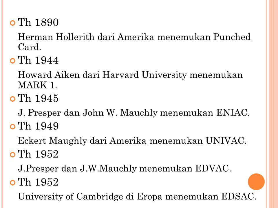 Th 1890 Herman Hollerith dari Amerika menemukan Punched Card. Th 1944. Howard Aiken dari Harvard University menemukan MARK 1.