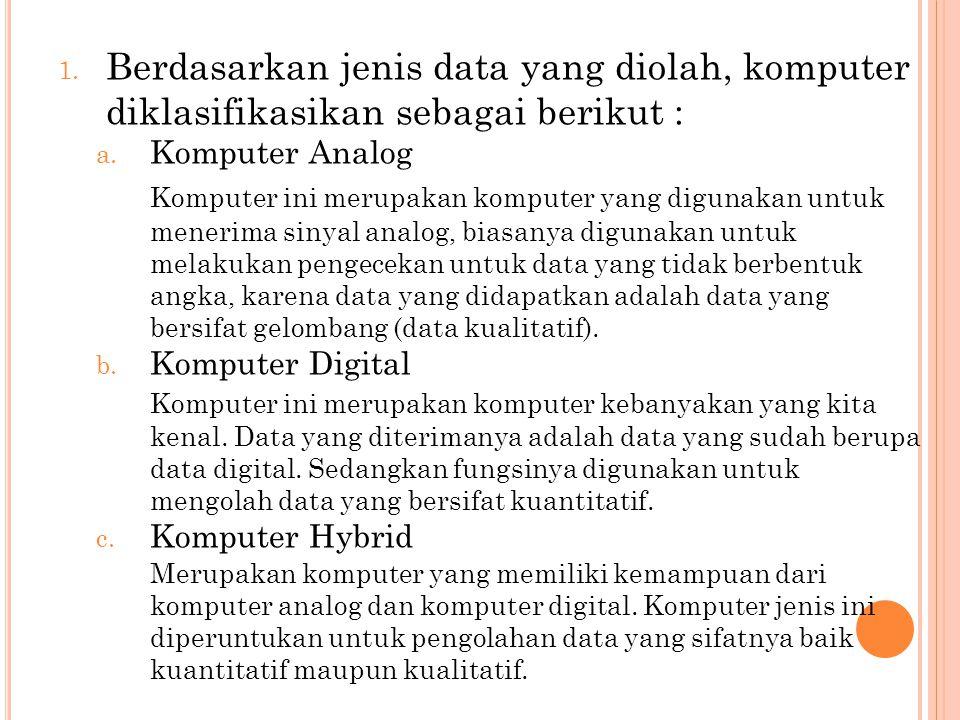 Berdasarkan jenis data yang diolah, komputer diklasifikasikan sebagai berikut :