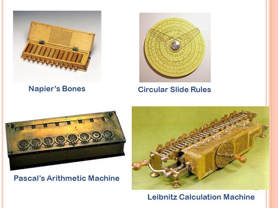 Napier's Bones Circular Slide Rules Pascal's Arithmetic Machine Leibnitz Calculation Machine