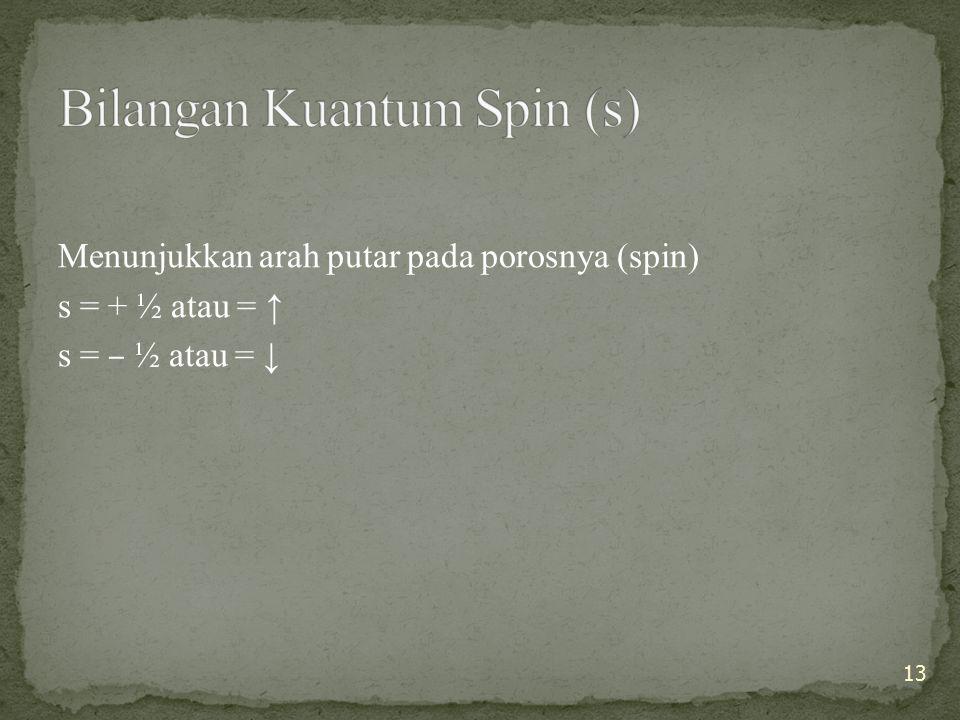 Bilangan Kuantum Spin (s)