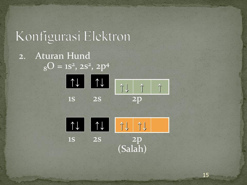 Konfigurasi Elektron 2. Aturan Hund 8O = 1s2, 2s2, 2p4 1s 2s 2p (Salah) ↑↓ ↑↓ ↑↓ ↑ ↑↓ ↑↓ ↑↓