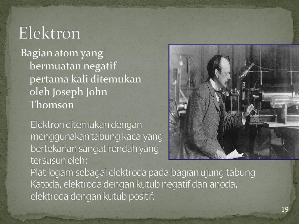 Elektron Bagian atom yang bermuatan negatif pertama kali ditemukan oleh Joseph John Thomson.