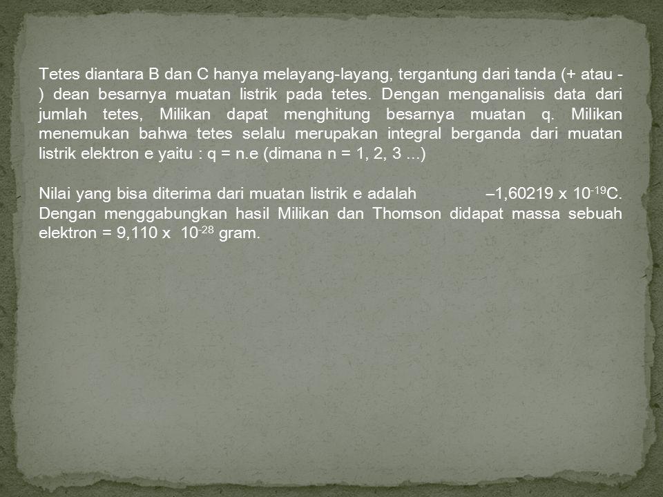 Tetes diantara B dan C hanya melayang-layang, tergantung dari tanda (+ atau -) dean besarnya muatan listrik pada tetes. Dengan menganalisis data dari jumlah tetes, Milikan dapat menghitung besarnya muatan q. Milikan menemukan bahwa tetes selalu merupakan integral berganda dari muatan listrik elektron e yaitu : q = n.e (dimana n = 1, 2, 3 ...)