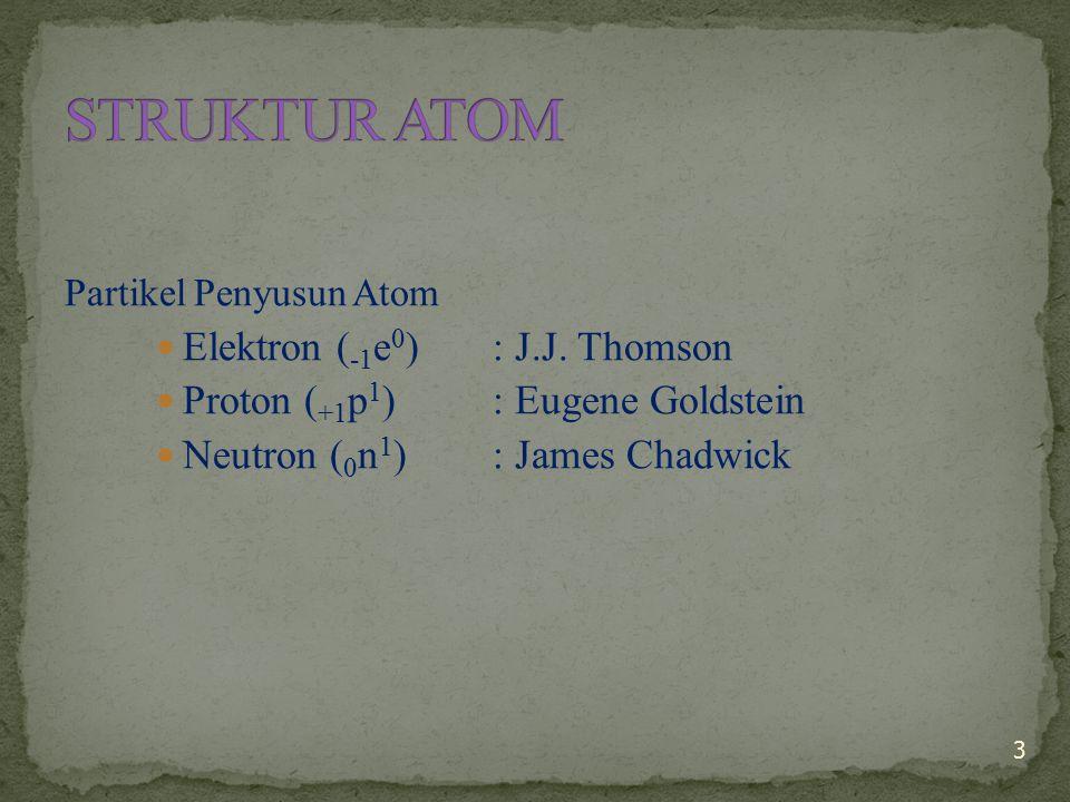 STRUKTUR ATOM Elektron (-1e0) : J.J. Thomson