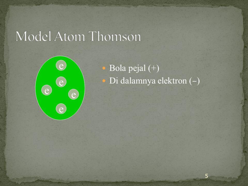 Model Atom Thomson e Bola pejal (+) Di dalamnya elektron (–) e e e e