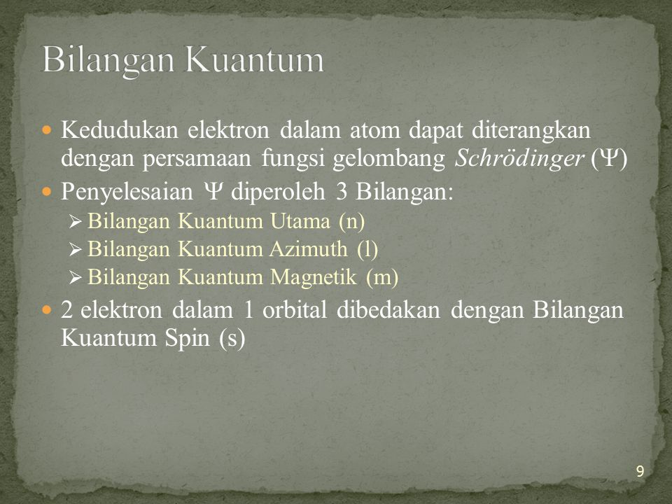 Bilangan Kuantum Kedudukan elektron dalam atom dapat diterangkan dengan persamaan fungsi gelombang Schrödinger ()
