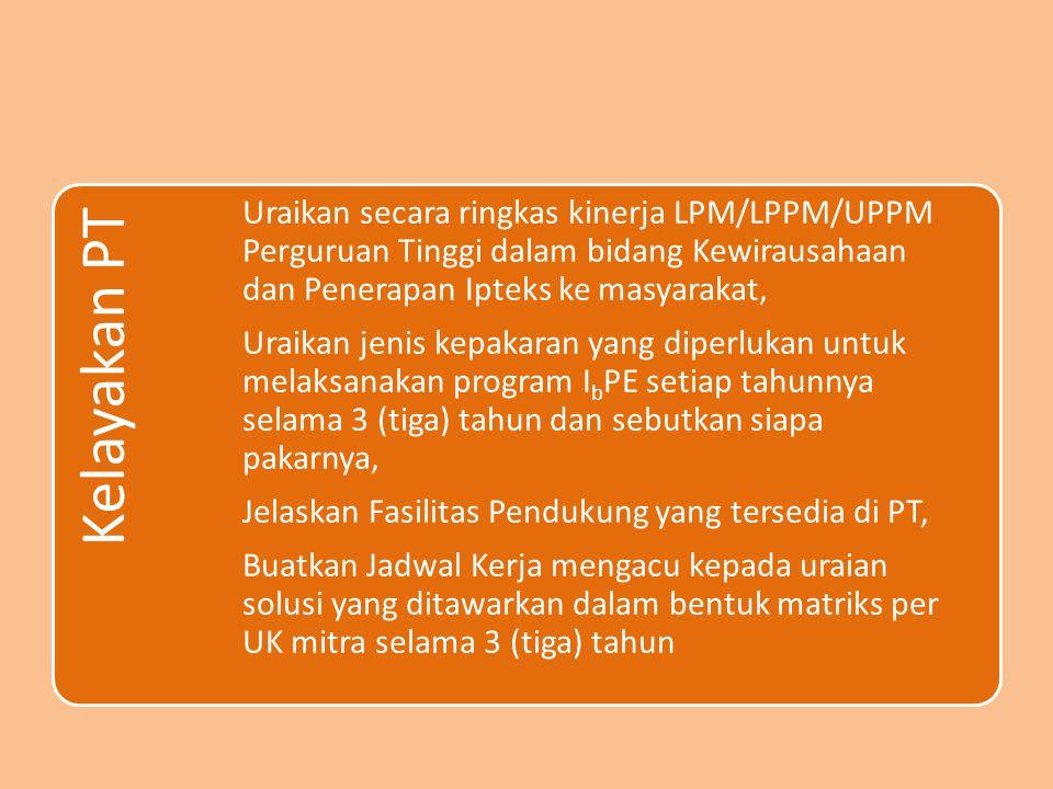 Kelayakan PT Uraikan secara ringkas kinerja LPM/LPPM/UPPM Perguruan Tinggi dalam bidang Kewirausahaan dan Penerapan Ipteks ke masyarakat,