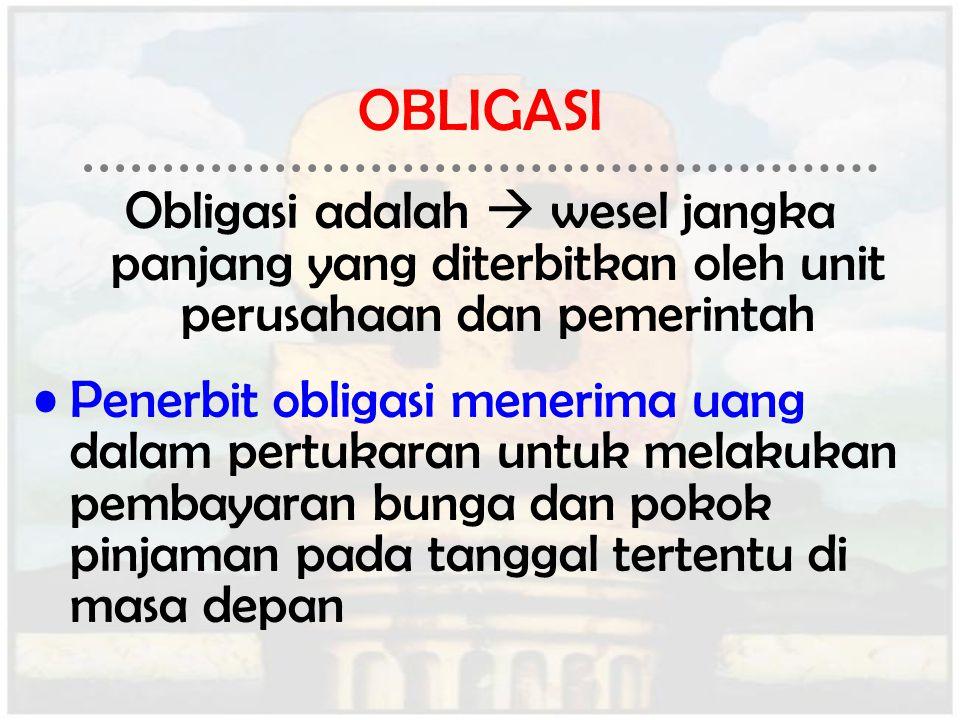 OBLIGASI Obligasi adalah  wesel jangka panjang yang diterbitkan oleh unit perusahaan dan pemerintah.