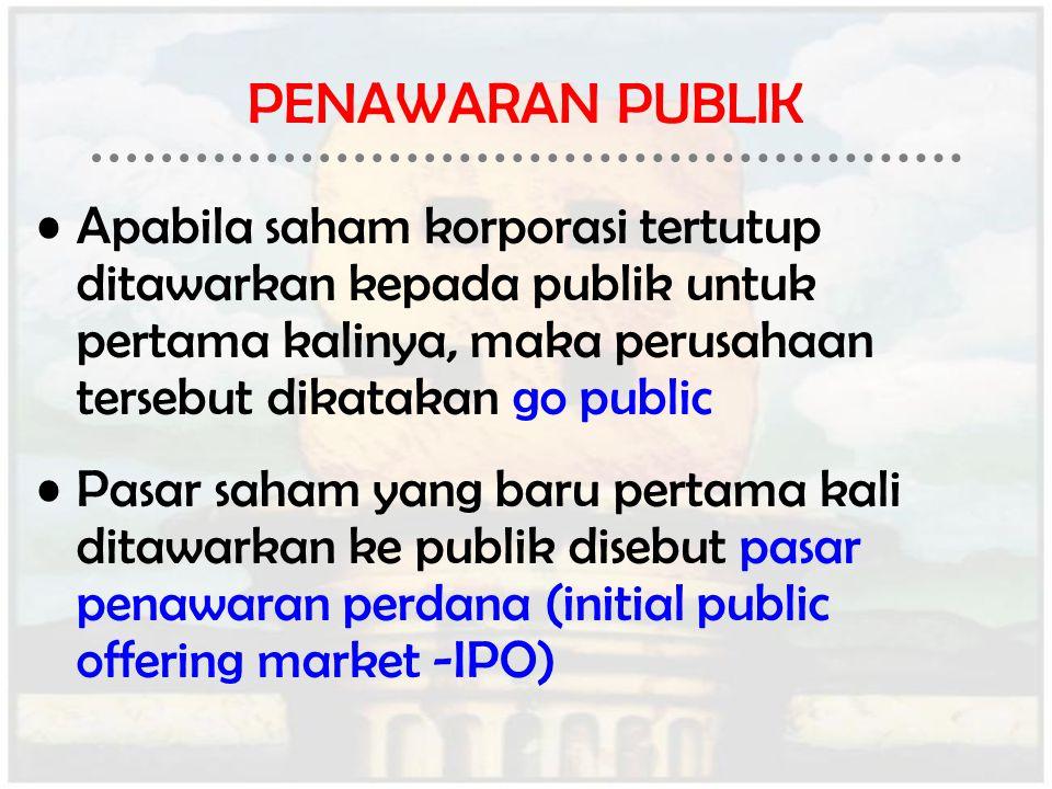 PENAWARAN PUBLIK Apabila saham korporasi tertutup ditawarkan kepada publik untuk pertama kalinya, maka perusahaan tersebut dikatakan go public.