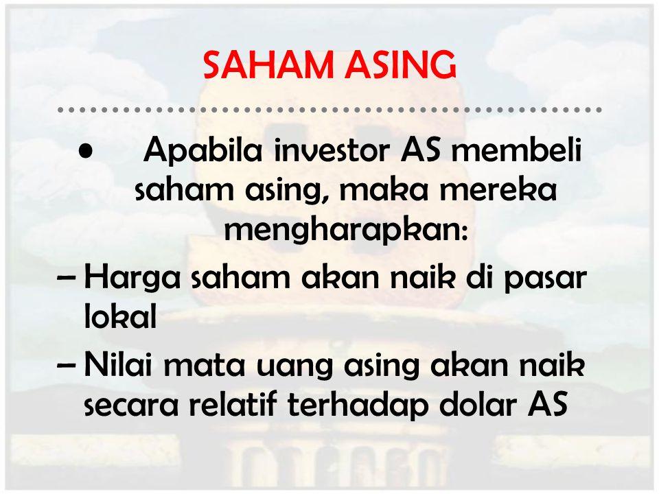 Apabila investor AS membeli saham asing, maka mereka mengharapkan: