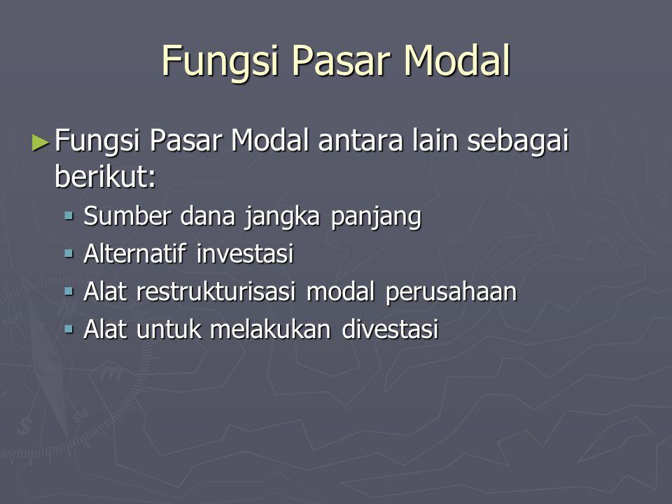 Fungsi Pasar Modal Fungsi Pasar Modal antara lain sebagai berikut: