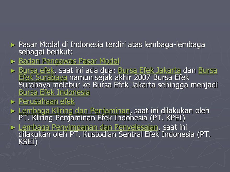 Pasar Modal di Indonesia terdiri atas lembaga-lembaga sebagai berikut: