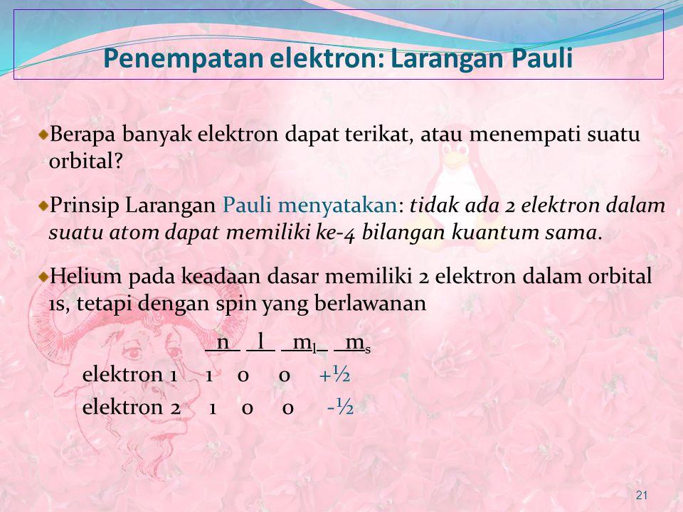 Penempatan elektron: Larangan Pauli