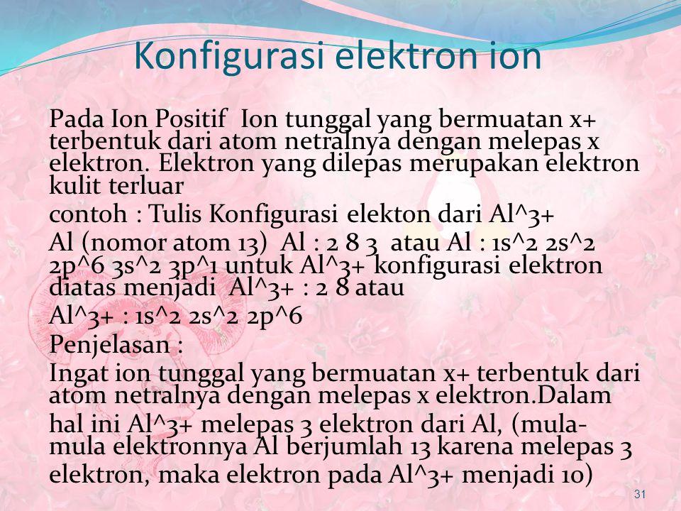 Konfigurasi elektron ion