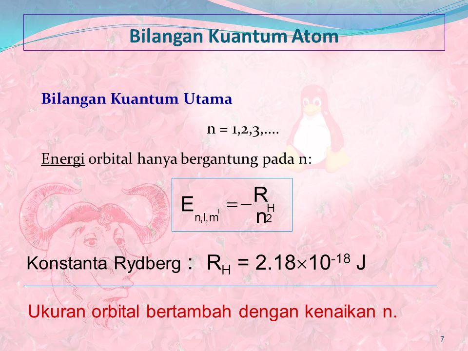 Bilangan Kuantum Atom R E - = RH = 2.1810-18 J Konstanta Rydberg :