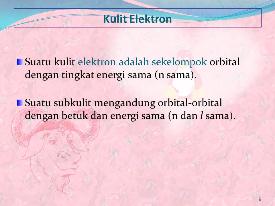 Kulit Elektron Suatu kulit elektron adalah sekelompok orbital dengan tingkat energi sama (n sama).