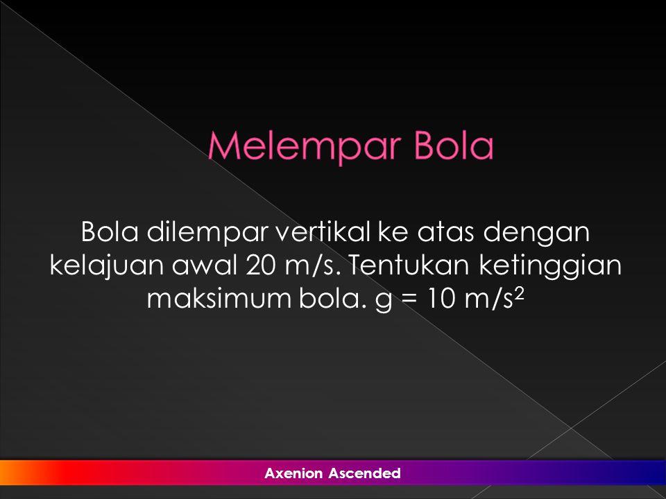 Melempar Bola Bola dilempar vertikal ke atas dengan kelajuan awal 20 m/s. Tentukan ketinggian maksimum bola. g = 10 m/s2.