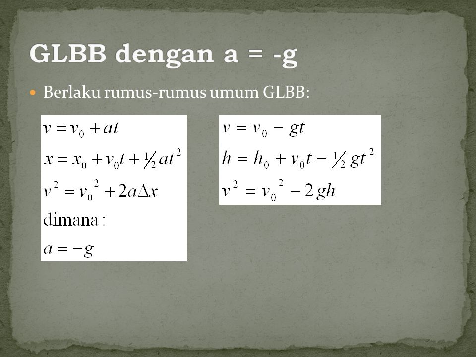 GLBB dengan a = -g Berlaku rumus-rumus umum GLBB: