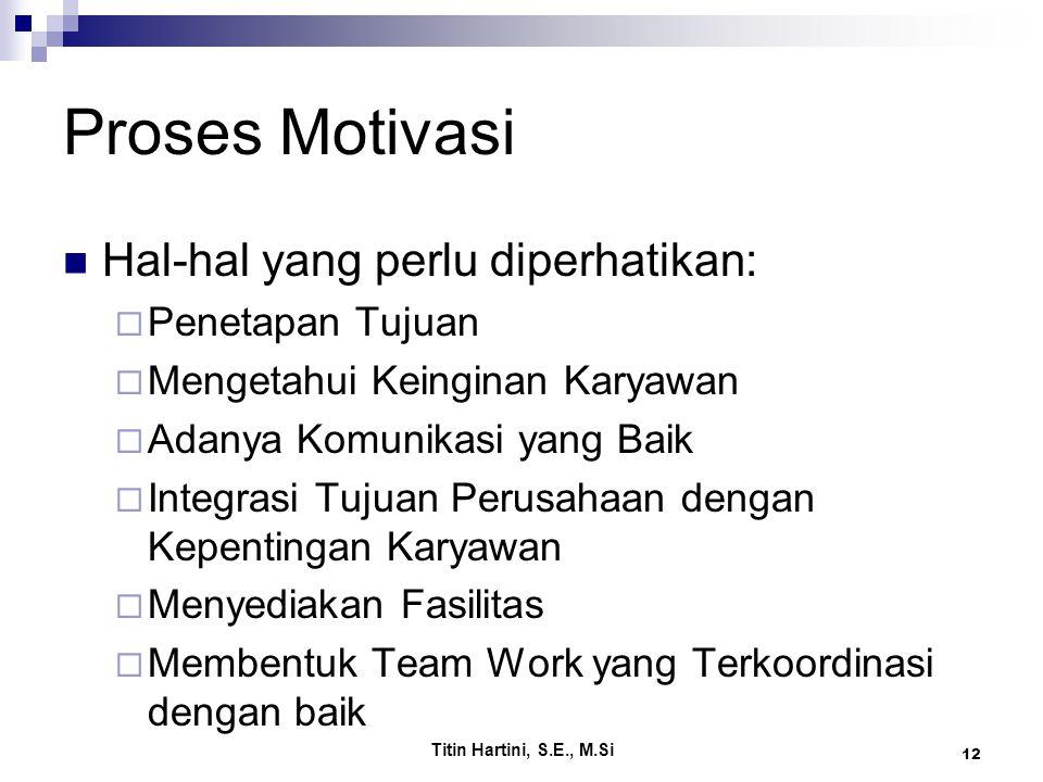 Proses Motivasi Hal-hal yang perlu diperhatikan: Penetapan Tujuan
