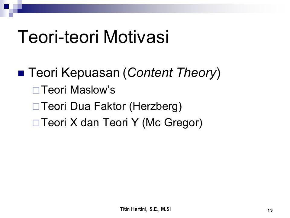 Teori-teori Motivasi Teori Kepuasan (Content Theory) Teori Maslow's