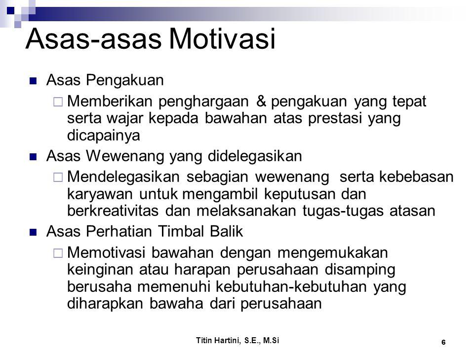 Asas-asas Motivasi Asas Pengakuan