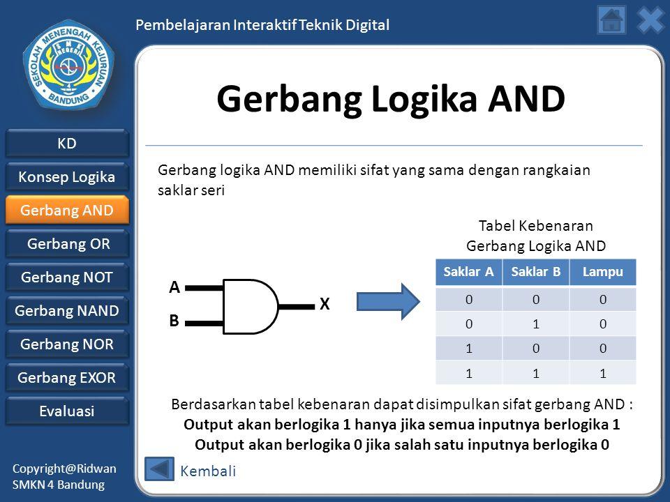 Gerbang Logika AND Gerbang logika AND memiliki sifat yang sama dengan rangkaian saklar seri. Gerbang AND.