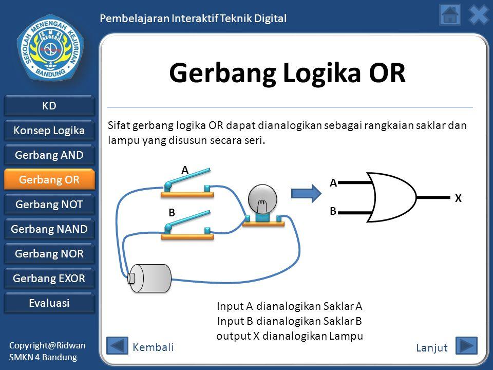 Gerbang Logika OR Sifat gerbang logika OR dapat dianalogikan sebagai rangkaian saklar dan lampu yang disusun secara seri.