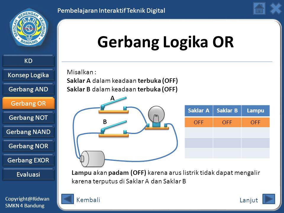 Gerbang Logika OR Misalkan : Saklar A dalam keadaan terbuka (OFF)