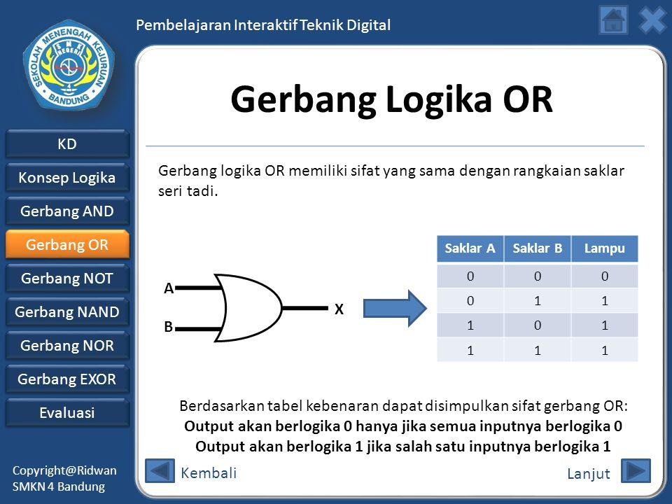 Gerbang Logika OR Gerbang logika OR memiliki sifat yang sama dengan rangkaian saklar seri tadi. Gerbang OR.