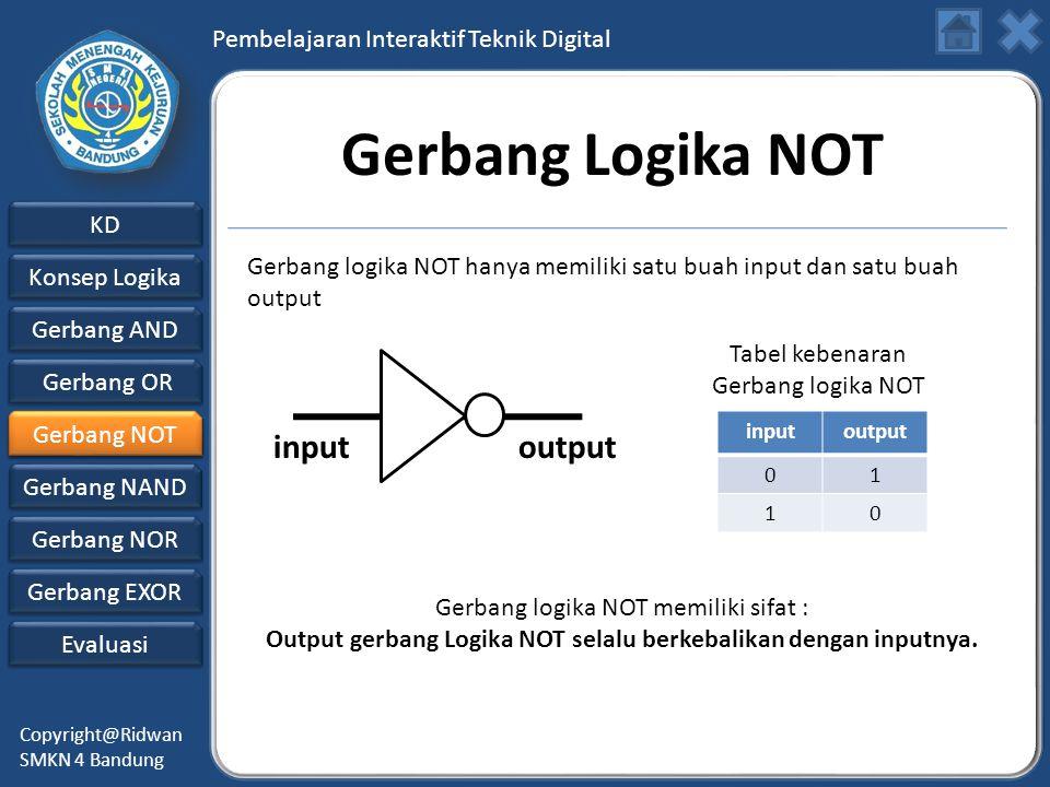Output gerbang Logika NOT selalu berkebalikan dengan inputnya.