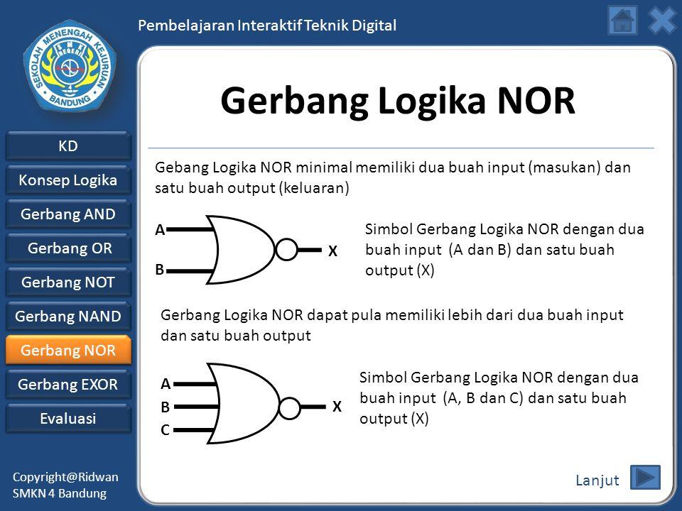 Gerbang Logika NOR Gebang Logika NOR minimal memiliki dua buah input (masukan) dan satu buah output (keluaran)