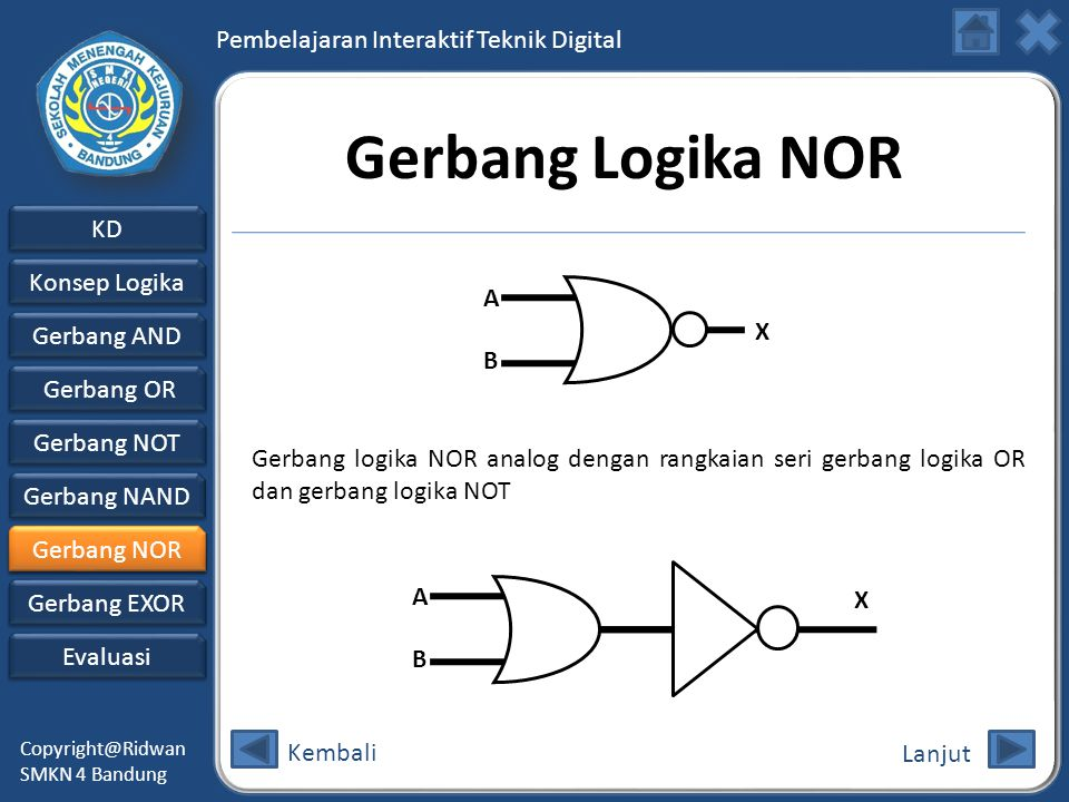 Gerbang Logika NOR A. B. X. Gerbang logika NOR analog dengan rangkaian seri gerbang logika OR dan gerbang logika NOT.