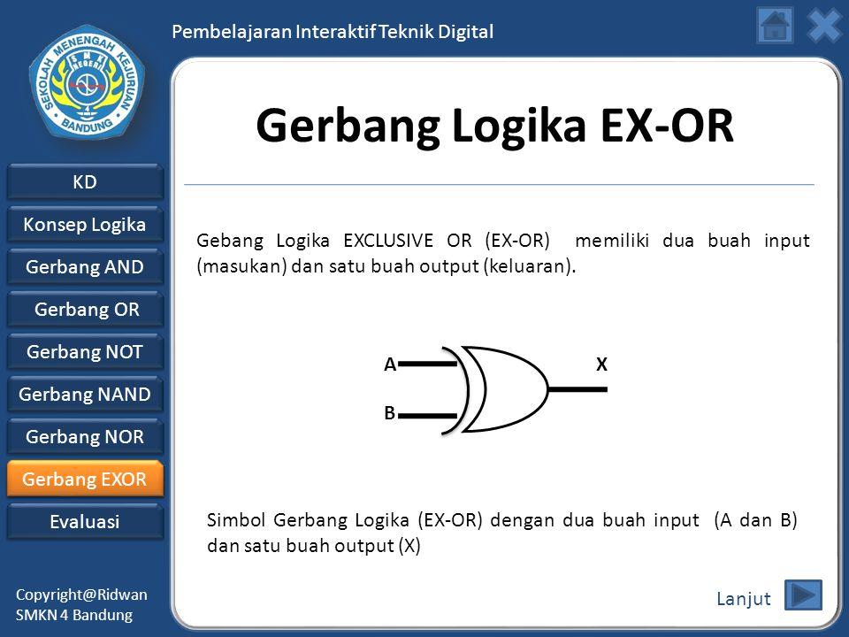 Gerbang Logika EX-OR Gebang Logika EXCLUSIVE OR (EX-OR) memiliki dua buah input (masukan) dan satu buah output (keluaran).