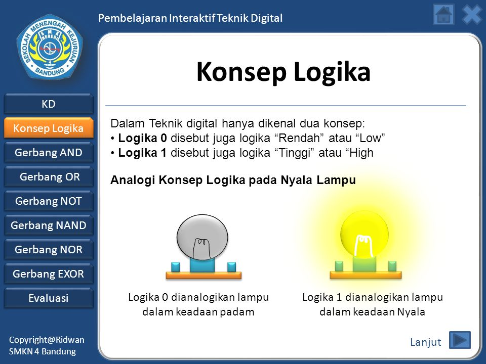 Konsep Logika Dalam Teknik digital hanya dikenal dua konsep:
