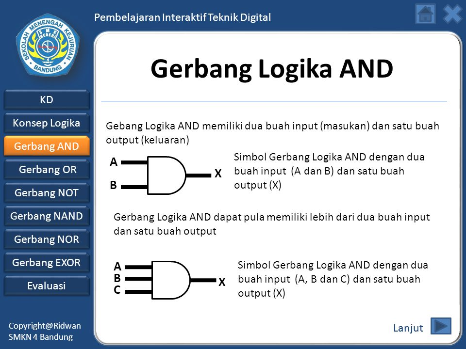 Gerbang Logika AND A X B A B X C
