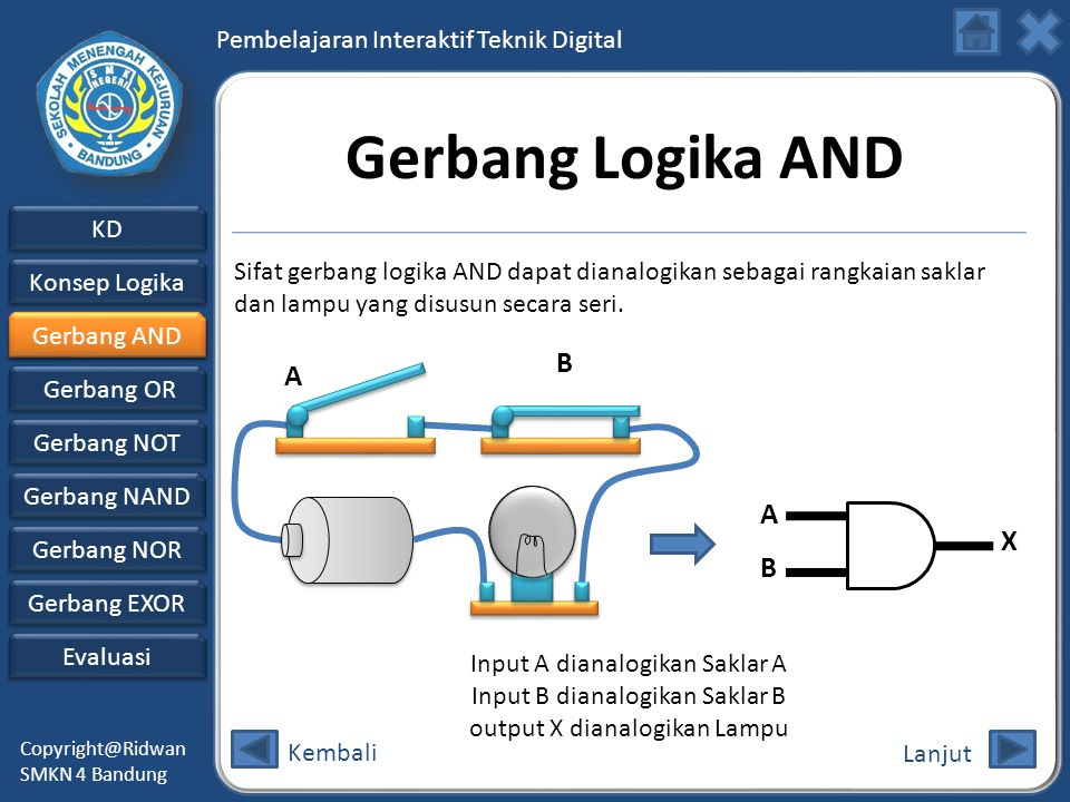 Gerbang Logika AND B A A X B