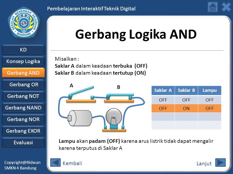 Gerbang Logika AND Misalkan : Saklar A dalam keadaan terbuka (OFF)