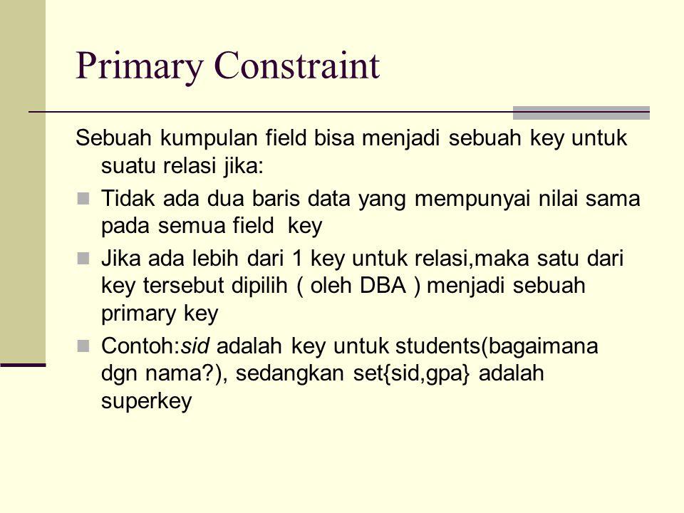 Primary Constraint Sebuah kumpulan field bisa menjadi sebuah key untuk suatu relasi jika: