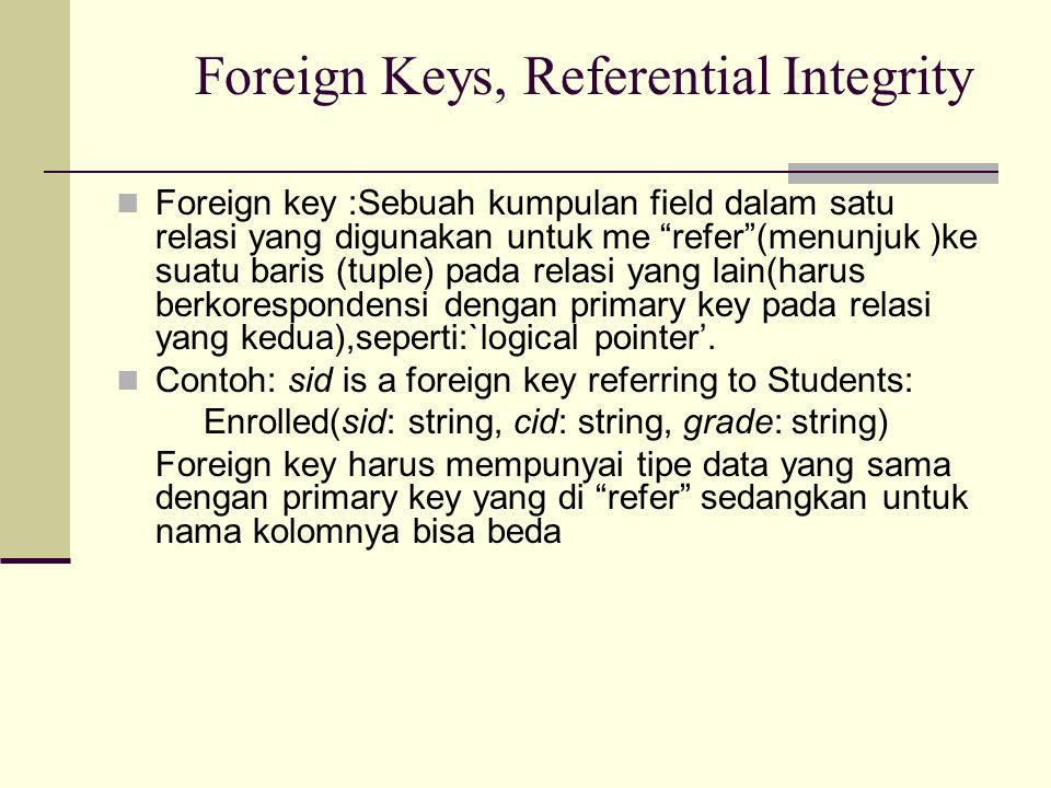 Foreign Keys, Referential Integrity
