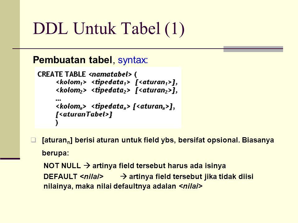 DDL Untuk Tabel (1) Pembuatan tabel, syntax: