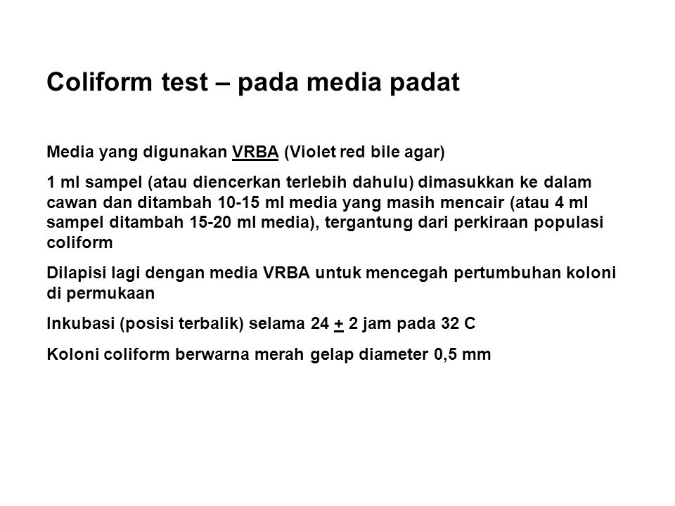 Coliform test – pada media padat