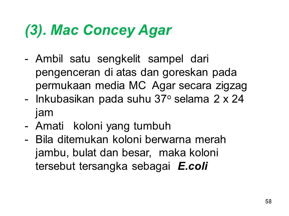 (3). Mac Concey Agar Ambil satu sengkelit sampel dari pengenceran di atas dan goreskan pada permukaan media MC Agar secara zigzag.