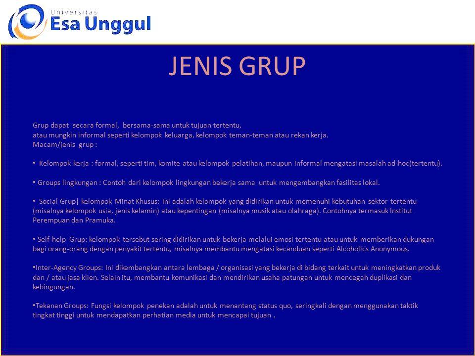 JENIS GRUP Grup dapat secara formal, bersama-sama untuk tujuan tertentu,